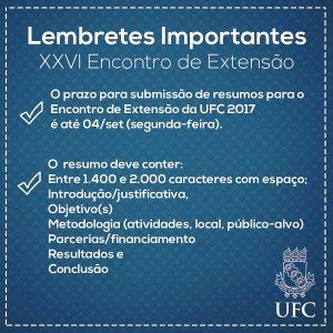 Banner sobre submissão de resumos referentes ao Edital do XXVI Enc. de Extensão