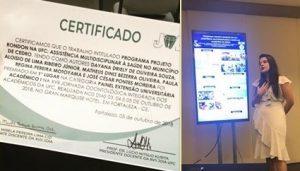 A aluna Dayana Souza, da graduação em Odontologia/UFC, teve artigo premiado em 1º lugar na XVII Jornada Odontológica Integrada dos Acadêmicos da UFC, realizada no período de 03 a 05 de outubro de 2018. Ação Extensionista: Projeto Rondon.