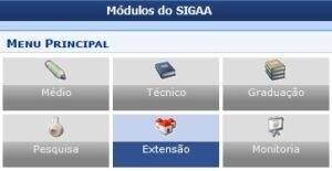 Apresentação da tela inicial do SIGAA, destacando o módulo Extensão