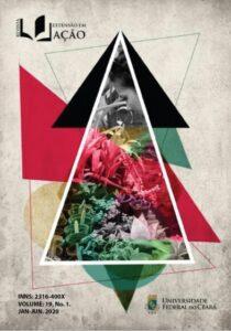 Capa da 19ª edição da Revista Extensão em Ação, a qual retrata triângulos coloridos, sendo que o principal e maior é vazado e contém uma foto - com filtros coloridos - de uma ação extensionista que trabalha com plantas.